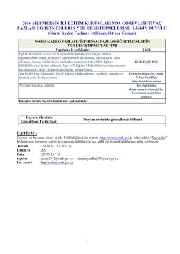 Duyuru Takvim ve Açıklamalar - Mersin İl Milli Eğitim Müdürlüğü