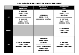 2013-2014 fall mıdterm schedule