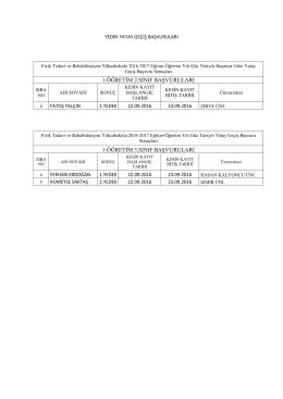 1.öğretim 2.sınıf başvuruları 1.öğretim 3.sınıf başvuruları