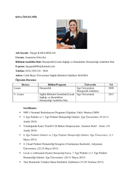 Arş. Gör. Duygu KARAARSLAN - Sağlık Bilimleri Fakültesi