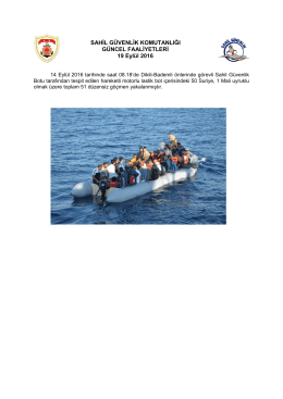 (14 Eylül 2016). - Sahil Güvenlik Komutanlığı