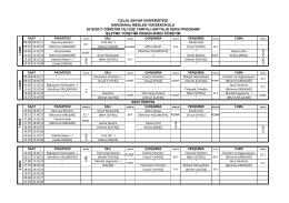 Genel 2016-2017 Yılı İşletme Bölümü Ders Programı