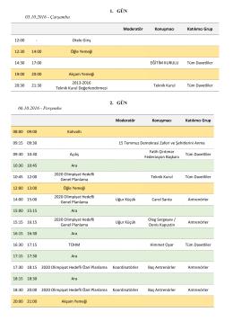 TAF Tokyo 2020 Planlama Toplantısı programı