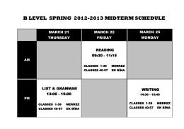 b level sprıng 2012-2013 mıdterm schedule