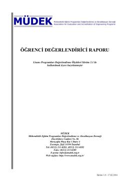 Öğrenci Değerlendiricisi Raporu (Sürüm 1.0 - 17.02.2016)