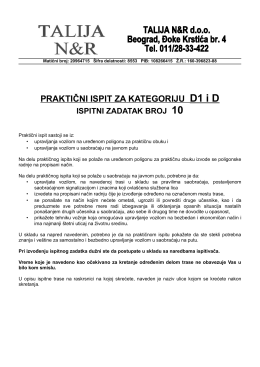 PRAKTIČNI ISPIT ZA KATEGORIJU D1 i D