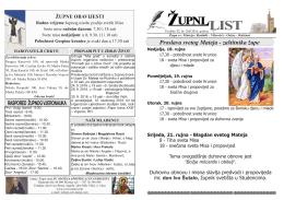 zupni listic - Župa sv. Mateja Mostar