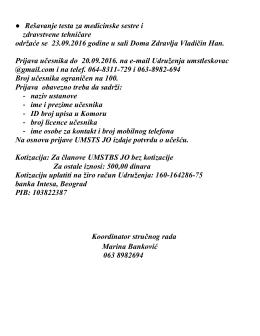 Više informacija možete naći u zvaničnom pozivu - UMST-LE