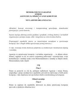 Memorandum o saradnji sa NVO - Agencija za sprječavanje korupcije