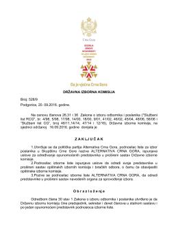 Z A K LJ U Č A K - Državna izborna komisija
