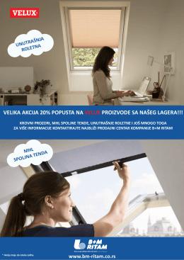Velux akcija, roletne, prozori, tenda