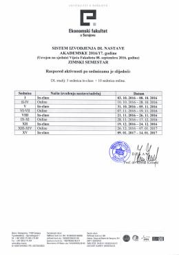 Sistem izvođenja nastave DL studij - zimski semestar