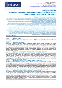 cijena KM449 po osobi 5 dana Italija Cinque Terre