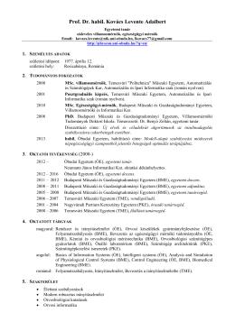 Kovács Levente CV - Élettani szabályozások csoport