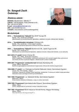 Dr. Szegedi Zsolt - Bioinformat-X