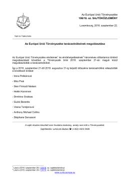 Az Európai Unió Törvényszéke tanácselnökeinek - curia