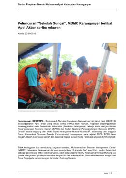 MDMC Karanganyar terlibat Apel Akbar seribu relawan