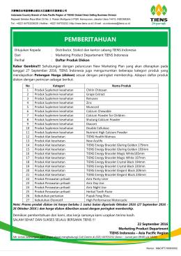 pemberitahuan - TIENS Indonesia