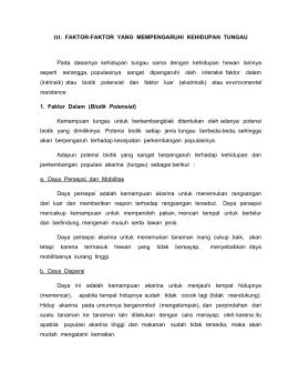 III. FAKTOR-FAKTOR YANG MEMPENGARUHI KEHIDUPAN