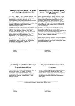 Belehrung gemäß § 54 Abs. 2 Nr. 8 des Aufenthaltsgesetzes