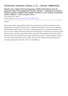 Deteksi Gen Alkana Monooksigenase (alkB) pada bakteri laut di