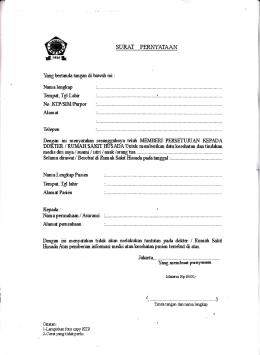 Surat Kuasa RS Husada Mangga Besar