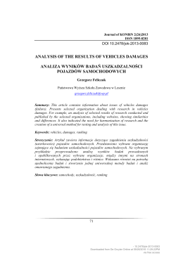 analysis of the results of vehicles damages analiza