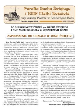 zobacz najnowszą gazetkę - Parafia Ducha Świętego i NMP Matki