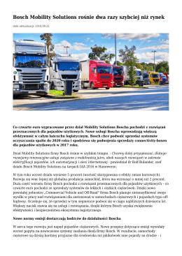 Bosch Mobility Solutions rośnie dwa razy szybciej niż