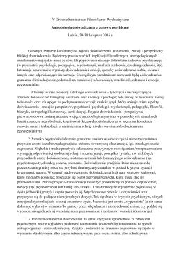 V OSFP w Lublinie Antropologia doĹłwiadczenia opis