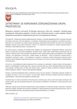 policja.pl zatrzymany za kierowanie zorganizowaną grupą