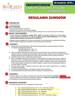 Regulamin zawodów - Fundacja BO WARTO