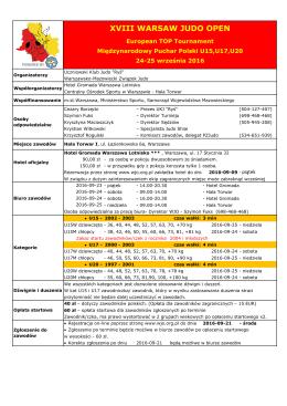 Komunikat zawodów - Polski Związek Judo