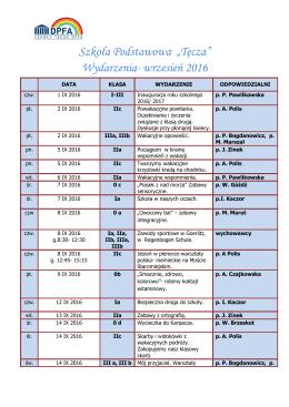 """Szkoła Podstawowa """"Tęcza"""" Wydarzenia- wrzesień 2016"""
