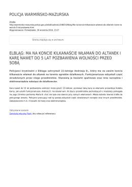 policja warmińsko-mazurska elbląg: ma na koncie kilkanaście