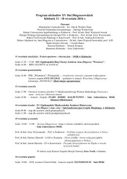 Program Obchodów XV Dni Długoszowskich 2016
