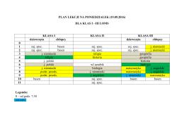 Aktualny plan lekcji na poniedziałek dla klas I-III