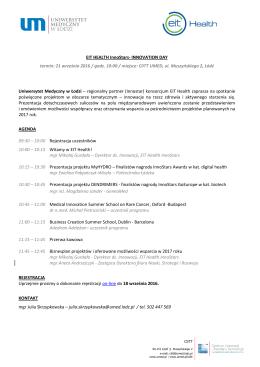 EIT Health – Innovation Day - Uniwersytet Medyczny w Łodzi