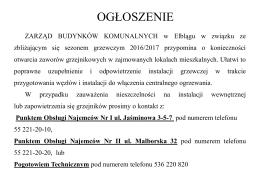 Sezon grzewczy 2016/2017 - Zarząd Budynków Komunalnych w