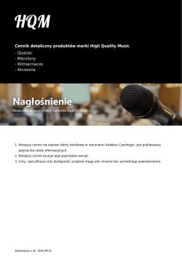 Cennik detaliczny produktów marki High Quality Music