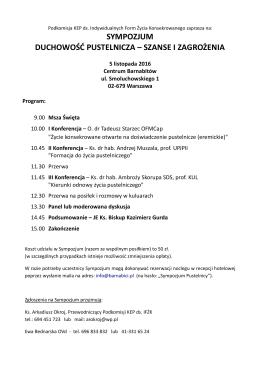program Sympozjum i dodatkowe informacje