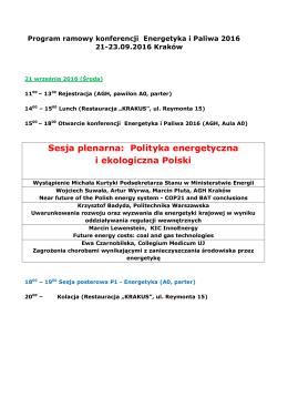 Sesja plenarna: Polityka energetyczna i ekologiczna Polski