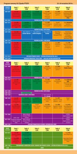 Program ramowy XLI Zjazdu PTOiTr 22–24 września 2016 r. Sala 1