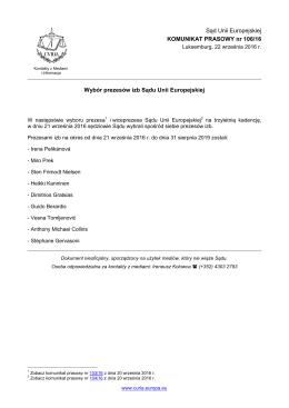 Wybór prezesów izb Sądu Unii Europejskiej - curia
