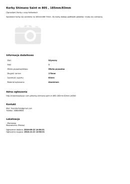 Korby Shimano Saint m 805 , 185mm/83mm