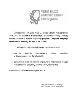 """społeczności romskiej na lata 2014 – 2020""""."""