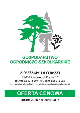 Gospodarstwo Ogrodnicze Łakomski oferta 2013-2014