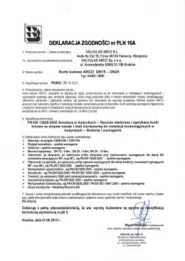 Deklaracja zgodności PLN 16A zawory MINI, zawory