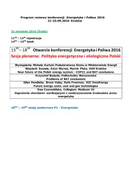 15 – 18 Otwarcie konferencji Energetyka i Paliwa 2016