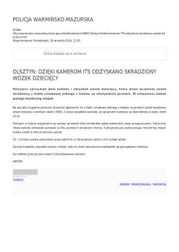 policja warmińsko-mazurska olsztyn: dzięki kamerom its odzyskano